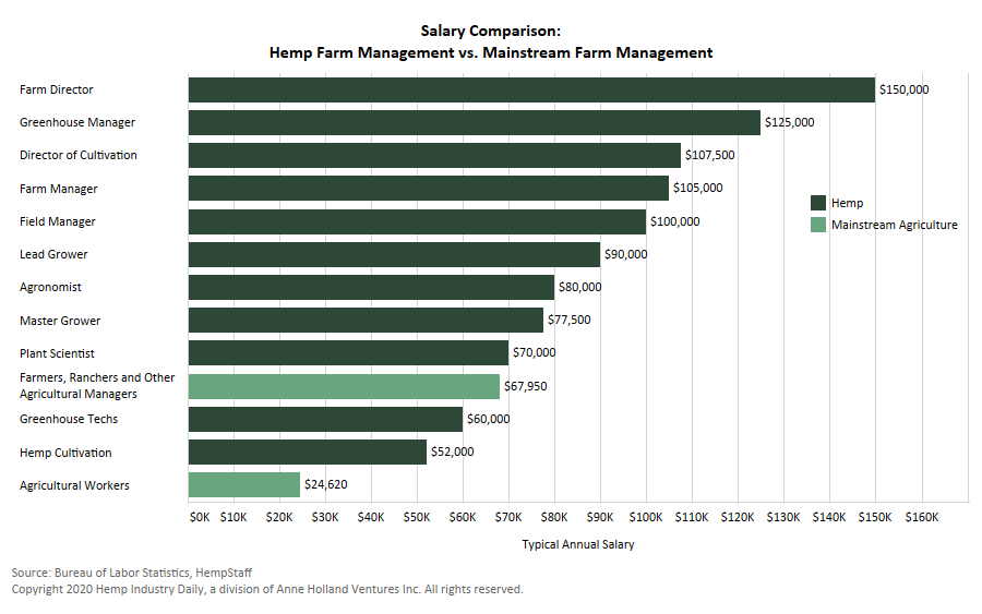 Hemp salaries agriculture, Chart: Hemp salaries outgunning those for careers in mainstream agriculture