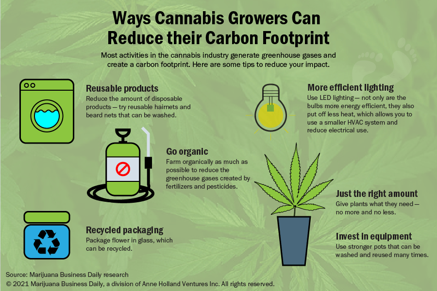 Informational graphic showing ways cannabis growers can reduce their carbon footprint.